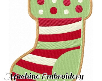 Christmas Cookie Stocking Machine Embroidery Pattern 4x4 & 5x7 Sizes INSTANT DOWNLOAD .dst .pes. art. jef .sew .hus .dst .art70 .xxx .vip