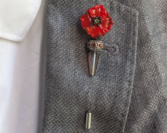 Brooch, Vintage Lapel pins - Grooms boutonniere -  tie pins - Flowers (Red poppy), gifts for him