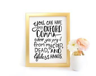 Wall Art - Oxford Comma Love - Grammar Nerd Gift, English Teacher, Book Nerd Gift, Reading Gift, Librarian Gift, Book Lover, Art Print