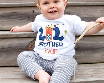 Little brother outfit - Little brother coming home outfit - Sibling shirts - Baby brother outfit - Fishing shirt -Little Brother Big Brother