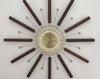 Vintage Starburst Wall Clock - Mid Century Modern