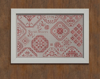 INSTANT DOWNLOAD Sarah Storrs Quaker Sampler PDF counted cross stitch patterns by Modern Folk at thecottageneedle.com monochromatic