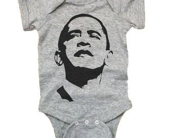 Baby Barack Obama Shirt - President Obama Baby Rib Lap Shoulder Bodysuit
