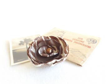 Brown Zebra Print Flower - Clip or Headband - Ready to Ship