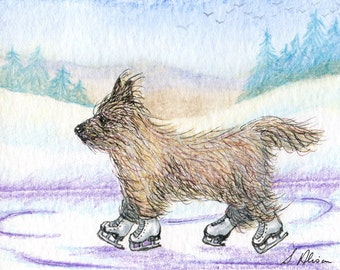 Cairn terrier dog skating print ice figure skater ratter light red brindle wheaten snowy landscape from Susan Alison watercolor painting