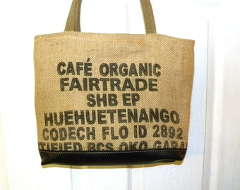 Cafe' Organic coffee shipping bag upcycled tote free shipping