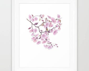 Cherry Blossoms Art Cherry Tree Flower Illustration Sakura flowers Watercolor Painting Giclee Print Living room Pink Wall Decor Wall Art