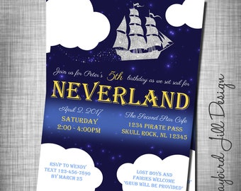Set Sail for Neverland Birthday Party Invitation / Peter Pan Party / Treasure Map / Peter Pan Birthday / Neverland Theme / Neverland Pirates