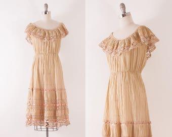 1970's Mexican Cotton Lace Peasant Dress | M