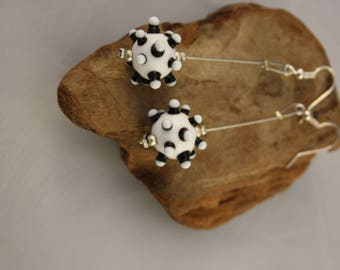 black and white Lampwork Glass Stud Earrings