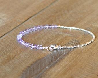 Lavender Amethyst Bracelet, Sterling Silver Birthstone Jewelry