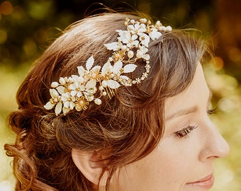 Kopfband Bridal Wedding Massanfertigung floral Krone VERBÜNDETER, Haar-Rebe, Kristall, Gold, Blumen,