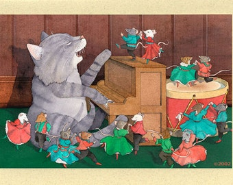 Cat and Mice Holiday Dance Christmas Card