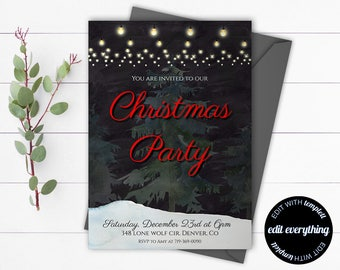 Chalkboard Christmas Party invitation template - Printable Invitation to Holiday Party - Printable Christmas Invitation - Blackboard Invite