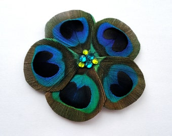 Mini GWEN Peacock Feather Flower Hair Clip with Swarovski Crystals