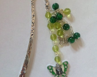 Green beaded metal sun and stars bookmark reader gift literary gift book lover gift metal bookmark beaded bookmark