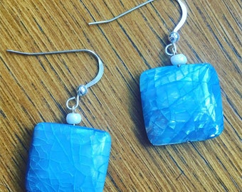 Blue Shell and Sterling Silver Earrings
