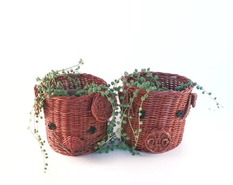 Sweet Pig and Mouse Wicker Planters
