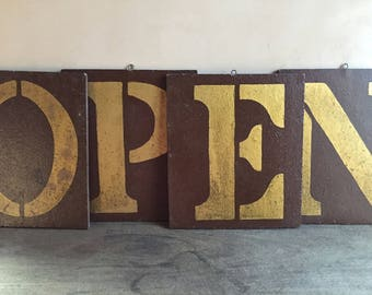 Open and Shut Sign, Open Closed Store Shop Sign, Handmade Retail Business Sign