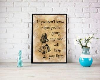 Alice in Wonderland Print, Alice artwork, printed art, mad hatter, white rabbit, queen of hearts, nursery decor, nursery art, vintage art