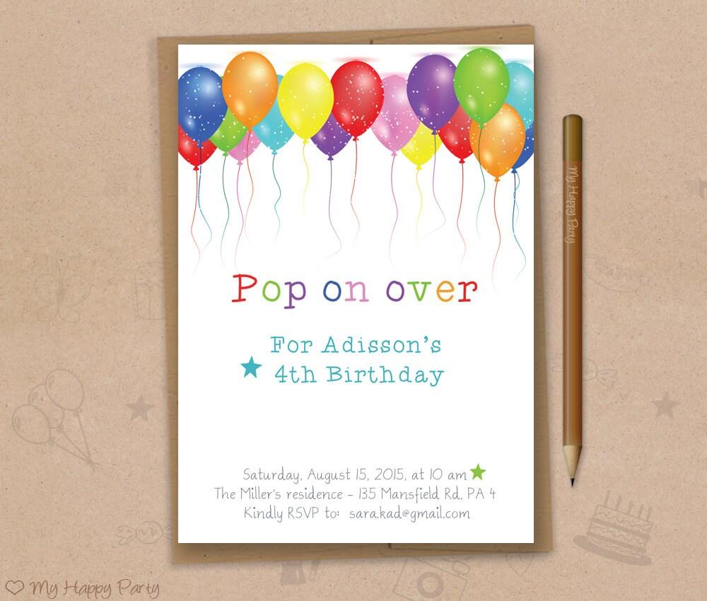 Balloon Birthday Invitation Balloons Party Balloon Birthday