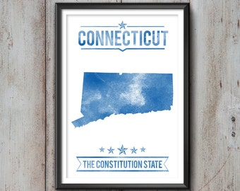 CONNECTICUT State Typography Print, Typography Poster, Connecticut Poster, Connecticut Art, Connecticut Gift, Connecticut Decor, Connecticut