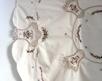 Vintage Hand Embroidered, Crocheted Lace, Large Doily, Small Table Cloth