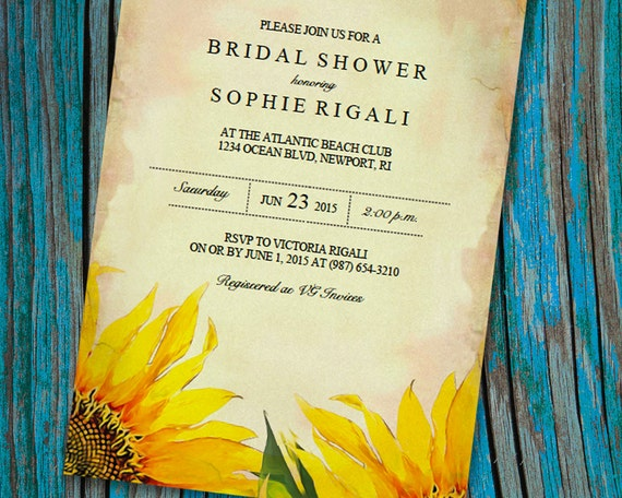 Printable bridal shower invitation template vintage sunflower filmwisefo