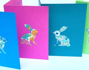EASTER Liberty fabric bunny and chick greeting card - small rectangular