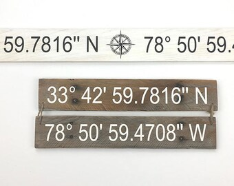 Latitude Longitude Coordinates sign / home decor/ location/ GPS coordinates/ gallery wall/ gift idea/ reclaimed wood