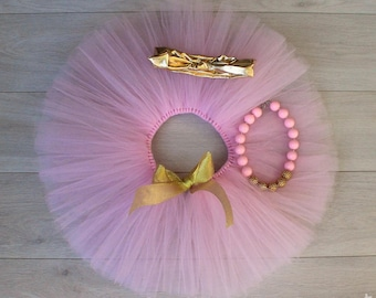 Pink & Gold 3 Piece Cake Smash Outfit - Tutu, Bubblegum Necklace and Bow Knot Headband.