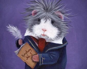 """Guinea Pig """"Ludpig"""" Van Beethoven Classical Music Art Print"""