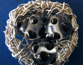 Wire Bird Nest Pendant with Black Clear White Art Glass Beads