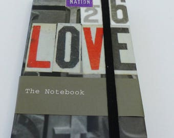 note book notebook LOVE 9.2 x 14.5 cm grey and Red 80 lined pages
