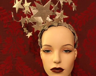 Bright Star Headdress  -  Sparkling Silver Leather and Glitter Star Burlesque Headpiece / Mardis Gras Crown . To Order