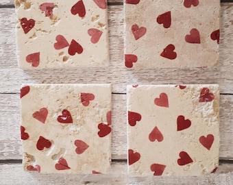 Natural Stone Coasters, Emma Bridgewater inspired, Hearts Design, Love Hearts, Pretty, Handmade, shabby chic