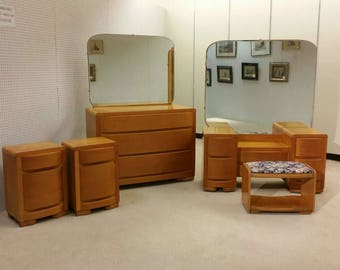 5pc blond mahogany MCM streamline Hollywood deco bedroom set by Hanover Co.