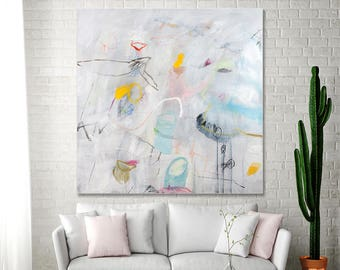 ABSTRACT PAINTING original Acrylic Painting Large wall art 36x36 Office Abstract art Above Bed Art White Canvas Art by Duealberi