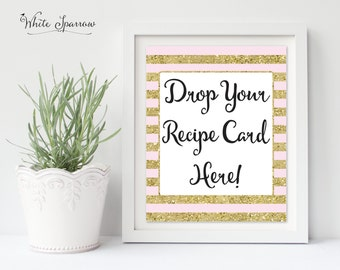 Drop Your Recipe Card Here, Gold Bridal Shower Sign. Bridal Shower Decorations. Gold Bridal Shower. Recipe Card Sign. Bridal Recipe Card