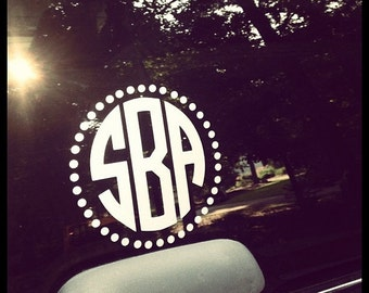 Monogrammed Car Window Decal with Polka Dot Circle