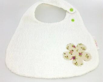 Ecru pink green floral white Terry bib