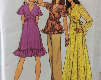 Simplicity 6600 misses high-waisted dress or top size 12 bust 34 vintage 1970's sewing pattern