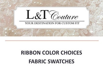 Fabric swatches, ribbon color swatches