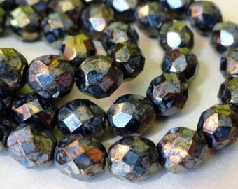 8mm Metalic Gold Faceted Beads - Czech Glass Beads - Fire Polished Beads - Bronze - Bead Soup Beads