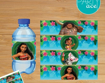 "Moana Birthday Printable Water Bottle Labels ""Returns the heart of Te Fiti"" Moana Birthday Party Hawaiian Summer Party Decoration"