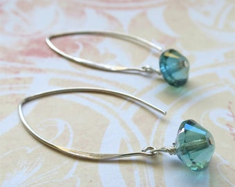 Aqua earrings faceted czech glass beads on long sterling silver earwires