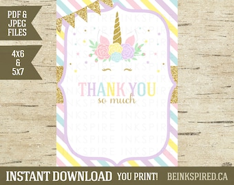 Unicorn Thank You, Thank You Note, Thank You Card, Printable, Blank, Gold Glitter, Unicorn Invitation, Rainbow, KADENCE, INSTANT DOWNLOAD