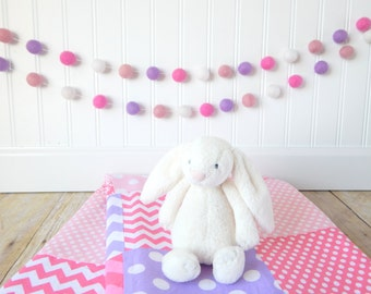 Baby Girl Nursery Decor Pom Pom Garland  Felt Ball Garland Pink Purple Wall Decor Banner Baby Room Wall Decor Wall Hanging  Baby Shower
