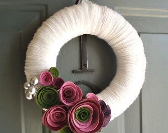 Yarn Wreath Felt Handmade Door Decoration - Violet Garden 8in
