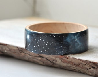 Dark blue bracelet Galaxy bangle black Space jewelry Сhristmas gift ideas Navy blue bracelet Wooden bracelet Fashion jewelry Trending gift